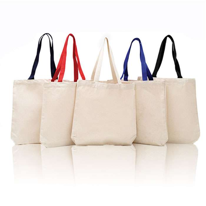 Cotton Canvas Gusset and Contrasting Handles Tote Bag, Book Bag Sale