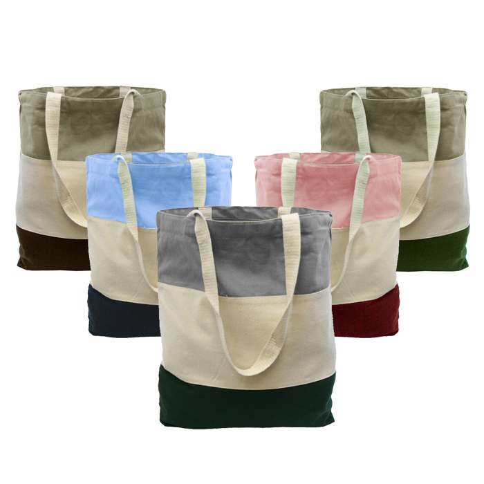 Tri-Color Canvas Tote Bag for Women, Promotional Tote Canvas bag