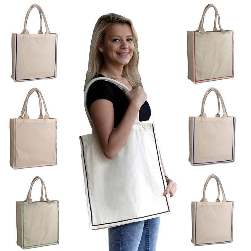 Fancy Shopper Color Stripe Tote Bag