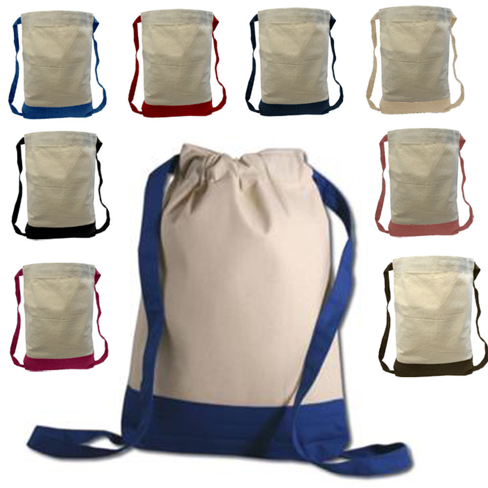 Two Tone Canvas Sport Backpacks / Wholesale Drawstring Bags BPK390 ...