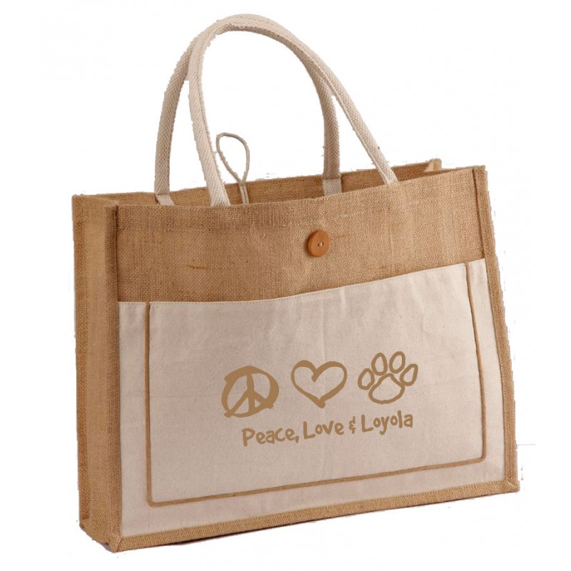 Large Jute and Cotton Combination tote bag with large front pocket and Button closure and Long handles