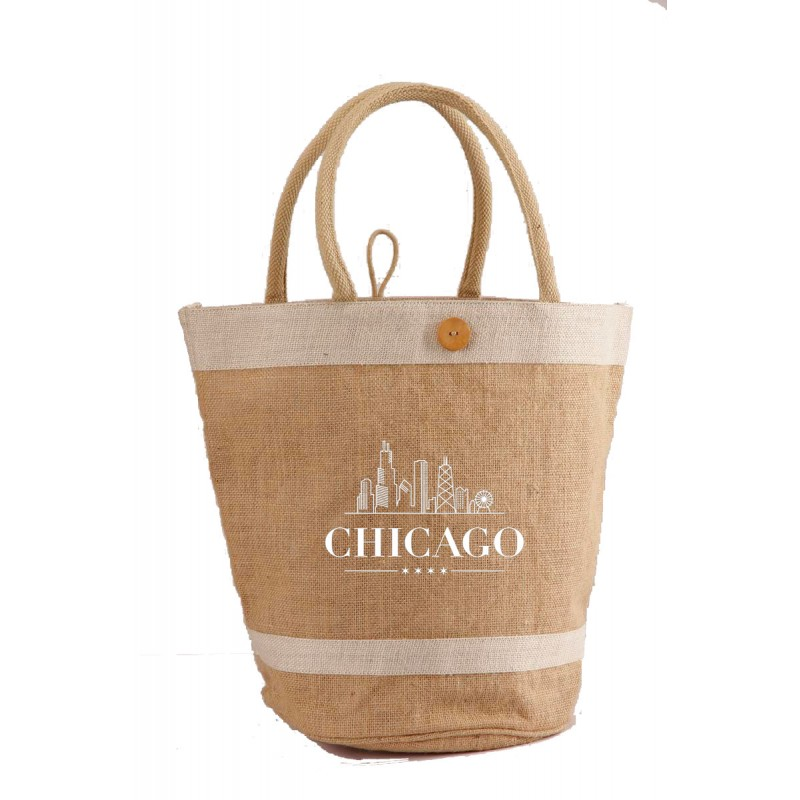 Jute Bucket Bag With Cotton Webbed Handles And Buttoned