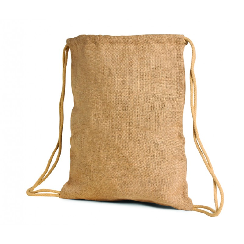 Large Drawstring Jute / Burlap Backpack Bag