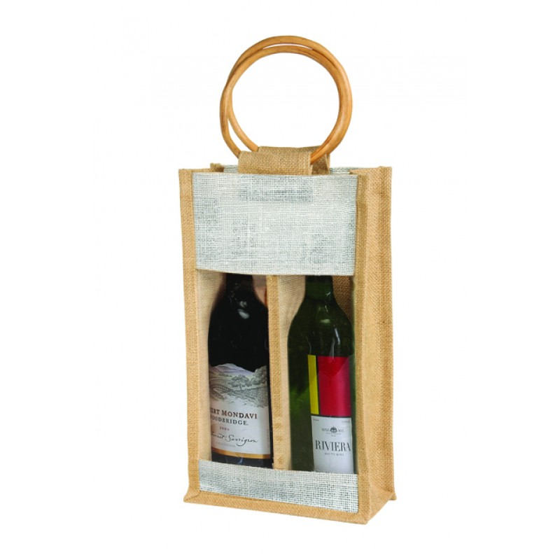 2 Bottle Wine Bag in Jute Burlap Reusable Wine Gift Tote