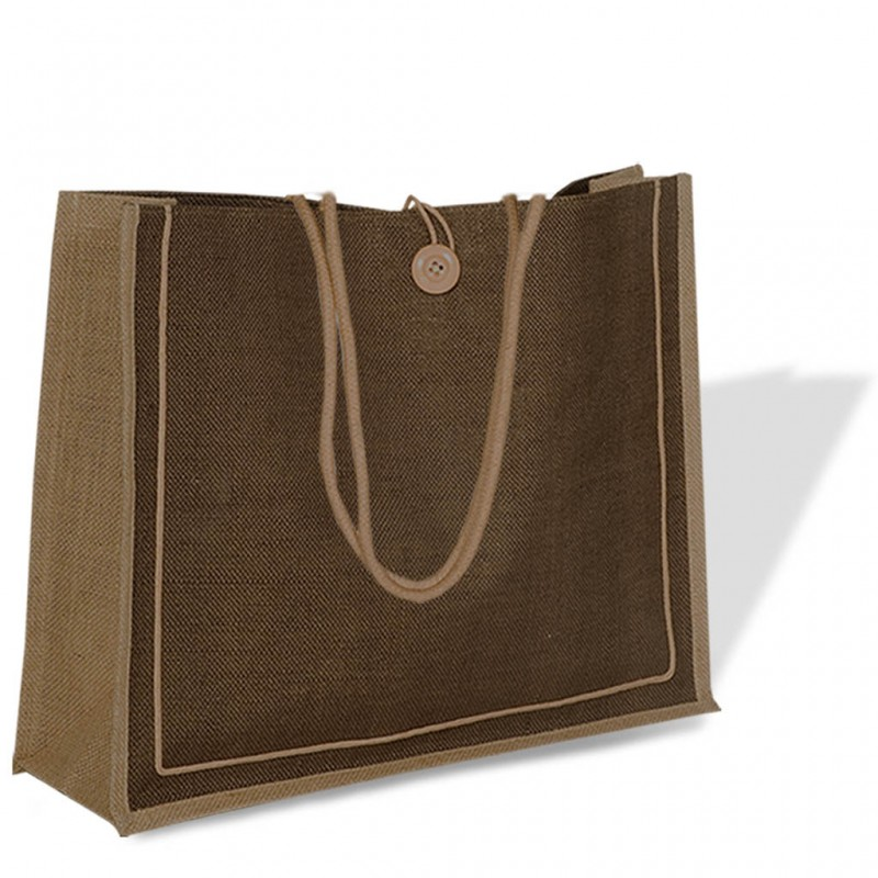 Jute Bag with Buttoned Closure