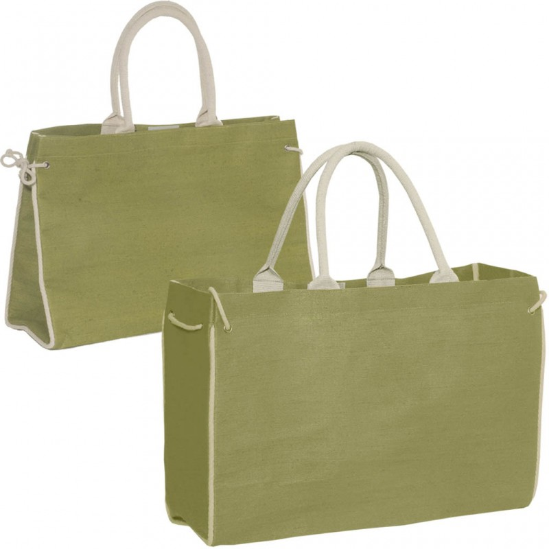 Jute Tote Bag with Side Tie