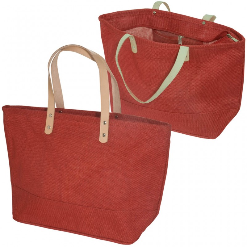 Jute Tote bag with Leather Handles  542c565db