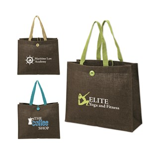 Jute Tote Bag with Colored Handles