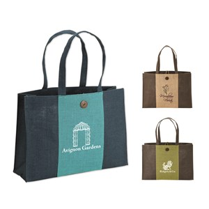 Two-Tone Jute Tote Bag