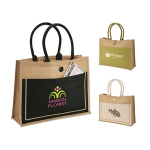 Two-Tone Jute Tote Bag with Cotton Canvas Pocket