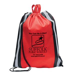Non-Woven Drawstring Backpack with Reflective Strips